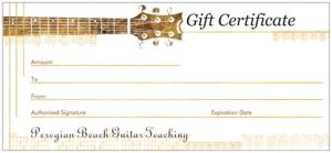 Guitar Lessons Gift Vouchers Peregian Beach